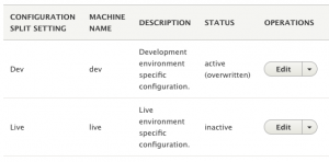 Dev split is enabled in the dev environment