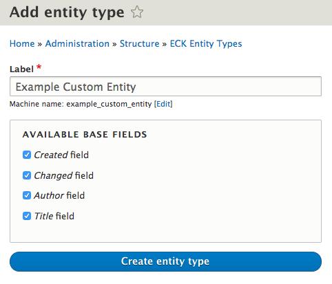 ECK Create Entity screenshot