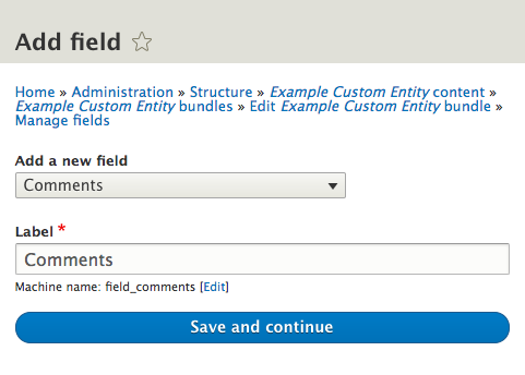 Drupal 8: How to add Comments to a Custom Entity Type
