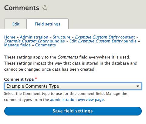 Configure comment field screenshot