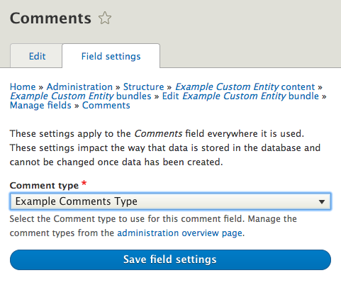 Configure comment field screenshot