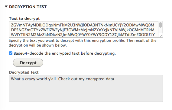 screenshot of decrypting the data copied from the database
