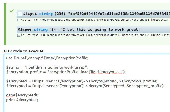 screenshot of programmatic encryption using devel PHP