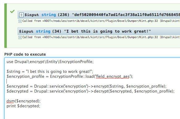 screenshot of programmatic encryption using devel PHP