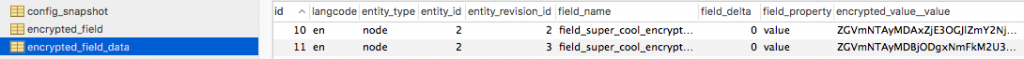 screenshot of encrypted data in database