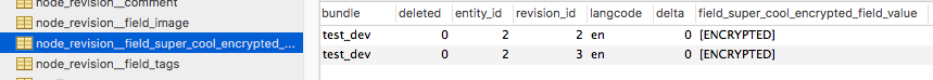 screenshot of field data in database