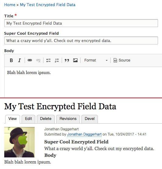 screenshot of node form and display