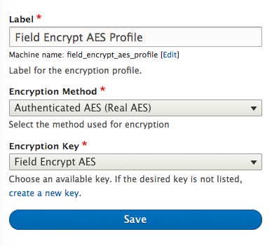 screenshot showing the encryption profile form