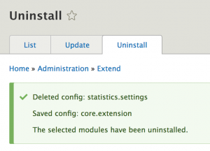 Message after uninstall of statistics module.