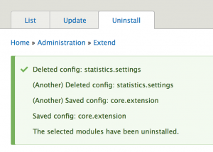 Uninstalling statistics module and looking at the messages.