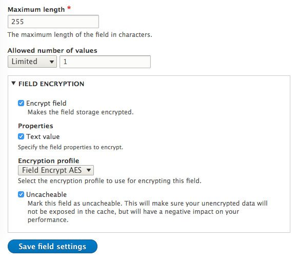 screenshot of filed encrypt settings on a plain text field