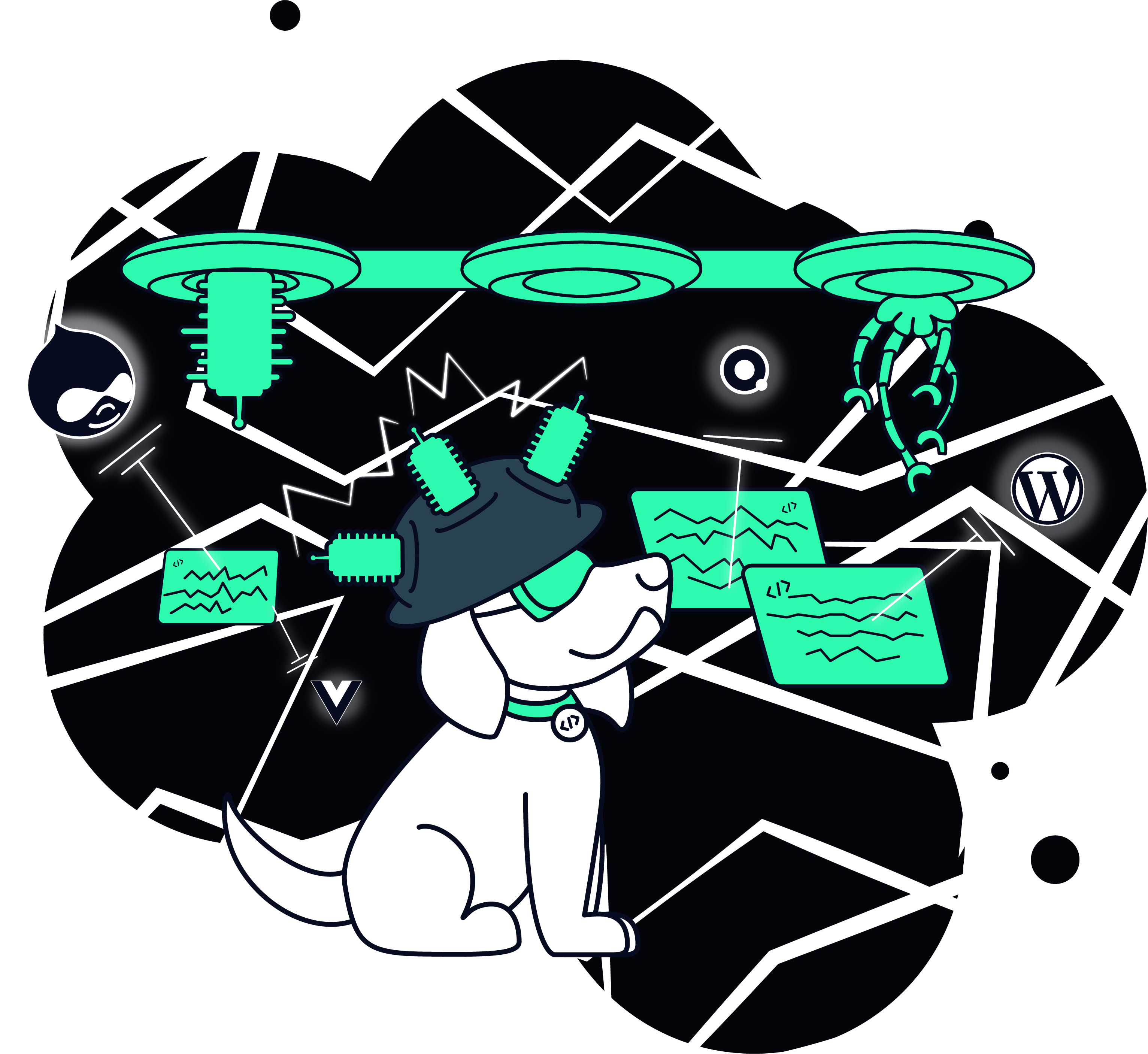 drawing of dog using a scifi machine to build websites
