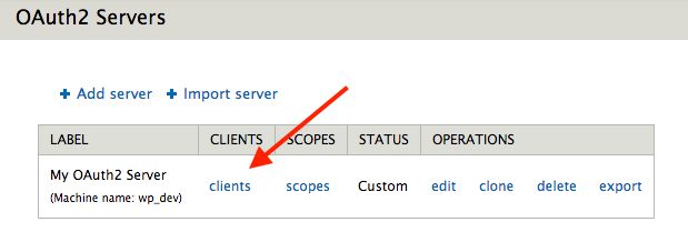 screenshot of list of servers and clients link