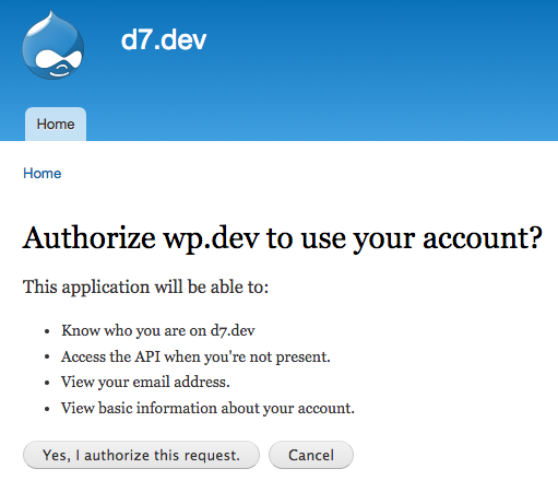 screenshot of Drupal asking for authorization to use the user account