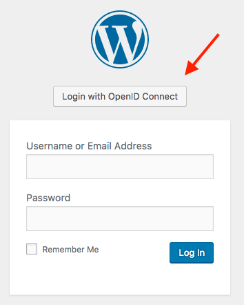 screenshot of WordPress login page with OpenID Connect button
