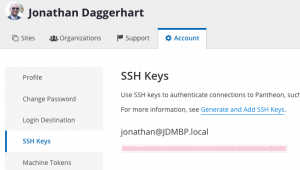 Pantheon ssh key dashboard showing that I have a key uploaded.