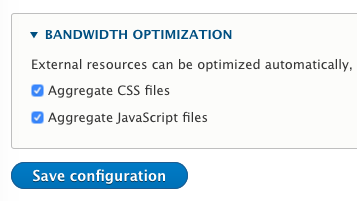 Checkboxes for CSS & JS aggregation settings
