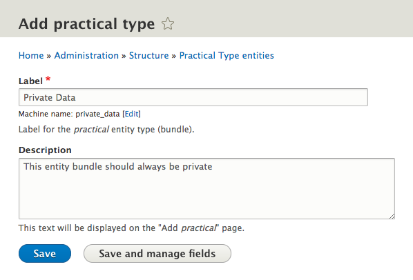 entity type form with description field