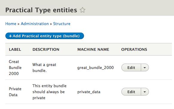 practical entity type list builder