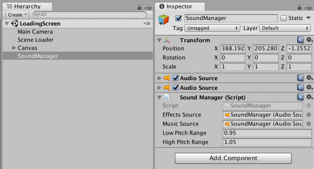 game editor ui showing a GameObject with 2 AudioSource components, and one SoundManager componment.
